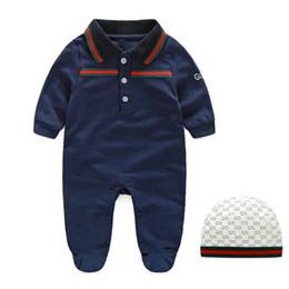 Bordado para meninas on-line-Outono bebê macacão macacão de designer crianças listras lapela manga comprida macacões infantis meninas carta bordados de algodão romper menino roupas A001