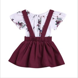 Vestido vermelho infantil on-line-Bebê da criança meninas 2 pçs / lote roupas criança top de manga curta + cinta vestido infantil roupas de vinho tinto Do Bebê Meninas vestido