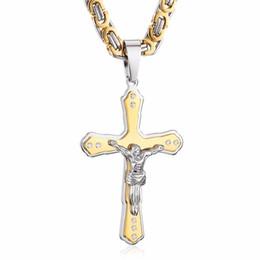 fleur lis jewelry Promotion Crucifix religieux pendentif colliers en acier inoxydable or noir ton fleur-de-lis croix pendentif collier longue chaîne byzantine hommes bijoux