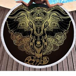 Retângulo redondo on-line-Elefante do vintage Bohemian Tassel Tapeçaria Moda Estilo de Luxo Rodada Toalha De Praia Superfina Macio Fibra Cobertor Nova 29px Ww