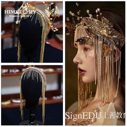 2019 capelli lunghi oro Himstory Splendide fasce per spose europee vintage Lunghe nappe Farfalla dorata Accessori per capelli Accessori per capelli capelli lunghi oro economici