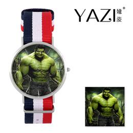 cómics de acero Rebajas YAZI Reloj de pulsera único The Hulk (cómics) Lucky Logo Reloj de cuarzo Banda de nylon Caja de acero inoxidable Regalo de memoria a prueba de agua