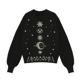 3dd4839513c 2019 New Autumn Winter High-End Loose Jumper Women Sweater Pullover Knit  Top Runway Design Starry Sky Embroidery Sweater embroidery designs sweaters  s ...