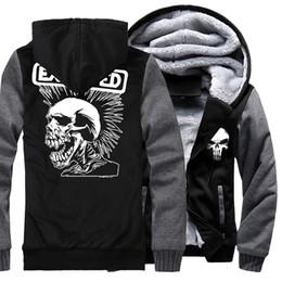 printed hoody for men Coupons - Men's Sportswear Harajuku 2019 Hot Winter Fleece Thick Hoodies For Men Print SKULL Punk Hip Hop Sweatshirt Male Hoody Tracksuits