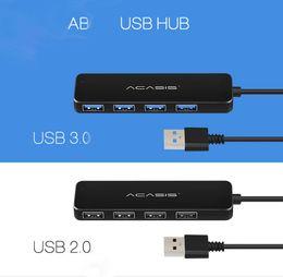 Porta mozzi compatte del usb online-Acasis High Speed USB 2.0 3.0 Supporto HUB portatile compatto Multipe USB Decice Hub per PC Laptop 4 prolunghe adattatore Usb HUBS Splitter
