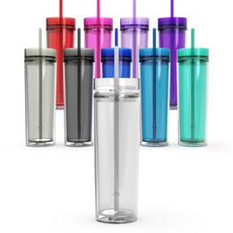 Copo bebendo acrílico magro de 16oz Tumbler 16oz com tampa e palha copo claro transparente de 480ml Sippy copo dobro livre de BPA da parede garrafa de água reta de