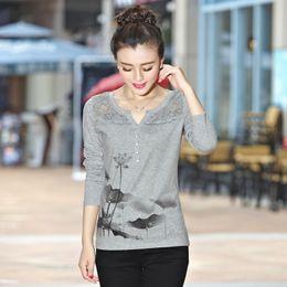 Shintimes Poleras Mujer 2018 Koreanisches Langarmhemd Damen Vintage T-Shirt T-Shirt Femme Cotton Diamonds Lace T-Shirt von Fabrikanten