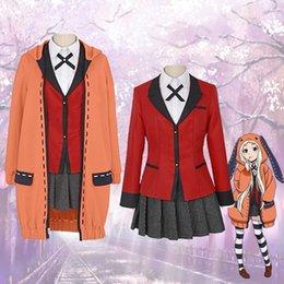 xxxl naruto cosplay Desconto Anime Kakegurui Traje Cosplay Halloween Uniforme Escolar Runa - camisola casaco COS roupas