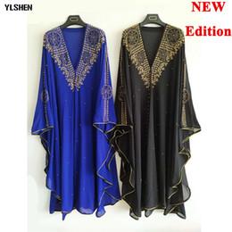 capucha de diamante Rebajas Vestidos africanos de gran tamaño para mujeres Ropa africana de lujo Dashiki Diamond Hood Cabo Abaya Dubai Túnica Vestido largo de noche musulmán