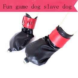 2019 jogo do sexo do cão Produtos sexuais luvas de contenção adultos sexy, luvas de couro PU, mão da pata do cão amarrado jogando brinquedos sexuais desconto jogo do sexo do cão
