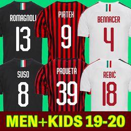 Andre fußball online-AC Milan 19 20 Fußball Trikots 2019 2020 AC Milan Fußball-Shirt BONUCCI KESSIE ANDRE SILVA CONTI Camisa CALHANOGLU KALINIC BONAVENTURA maillot
