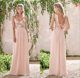 Rosas azuis baratas frete grátis on-line-Navio livre A Linha Rose Gold lantejoulas Chiffon da dama de honra vestidos de espaguete Backless Barato Long Beach Wedding Guest Dress Maid of Honor Vestidos
