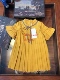 Neonate estate 2019 vestito giallo classico collare bambola gonna a pieghe per bambini abbigliamento moda casual abiti bambini vestiti ragazze ABD-22 da