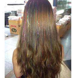 moda destaques cabelo Desconto Moda Sexy 8 Cores Cabelo Ouropel Faísca Glitter Extensões Destaques Fios de Cabelo Falso Acessórios Do Partido