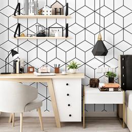 fondo de pantalla de la casa blanca Rebajas Papeles geométricos Lattic 3d Wall Noridc Black White Grid Wallpaper Rollo 3d para sala de estar Fondo Mural Papel Pintado