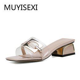 прозрачные пвх открытые носки Скидка Летние прозрачные тапочки 4 см квадратные каблуки сандалии женские открытые носки женская обувь женская плюс размер 34-43 ZMD03 MUYISEXI