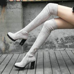 Cuisses épaisses talons en Ligne-Ladies Suede Comfort Plate-forme épais talon haut Cuissardes genou ronde Fashion Toe Zipper Femmes d'hiver Cuissardes Noir Gris