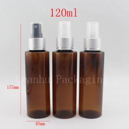 Botellas de spray de plástico azul al por mayor online-Venta al por mayor 120 ml botella de aerosol de plástico azul 120cc boquilla de pulverización de aluminio bomba de niebla fina botellas de cosméticos contenedores, botella de agua