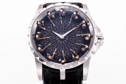 Лучшая версия 45mm Excalibur 45 RDDBEX0495 18k белое золото рыцари Круглого стола Miyota автоматические мужские часы черный кожаный ремешок от Поставщики автоматические столы