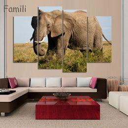 Arte do painel do elefante on-line-4 painéis grandes HD Impresso pintura a óleo elefantes cópia da lona moderna home decor Wall art Pictures Para Sala de estar (Sem Moldura)
