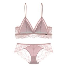 Women s Ladies Bra Sexy transparent Sling Lace edge Wire Free pajamas Underwear  set Triangle Teenage girl bikini 100% polyester 4pcs lot 9ca58fdea