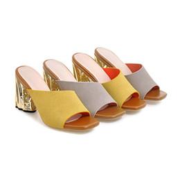 S.Romance Плюс Размер 34-43 Женские Сандалии на Высоком Каблуке Мода Лето Офис Slip-On Леди Насосы Женская Обувь Желто-Серый SS972 supplier gray yellow high heels от Поставщики серые желтые высокие каблуки