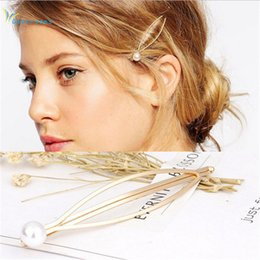 Золотое заколка онлайн-2017 Gold Plated Hairgrips Cheap Hair Accessories for Women Metal Clips Hairpin Artificial Pearl Hairclip Barrette Hairwear