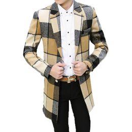 mens trench coat xs Sconti Abbigliamento uomo 2018 New Wool Blends Cappotti di lana da uomo Autunno Homme Moda Plaid Mens Trench lunghi Giacche M-3XL
