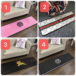 living room mats rugs Coupons - 2019 brand new black white area rugs long bedside mat 50x150cm camellia flower floor rugs bedroom carpets