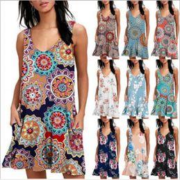 d0d7f01f3b2ef Women Floral Printed Dress V-Neck Sleeveless Dress Fashion Casual Style  Beach Vacation Dress Maternity Clothing RRA560