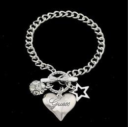 2019 pentagrama de pulseira Moda pentagrama coração charme pingente pulseiras strass bola talão cadeia pulseira pulseira para mulheres senhora jóias desconto pentagrama de pulseira
