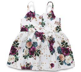 2019 bretelle floreali Girl Floral Print Fly Suspender Gonna Baby Infant Dress Abbigliamento per bambini One Piece Abbigliamento ZHT 159 bretelle floreali economici