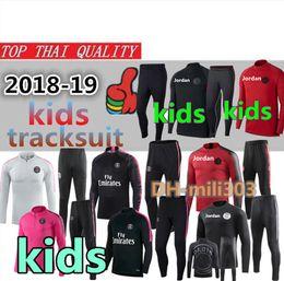 Ropa niños online-2019 2020 PSG chándal para niños 18 19 20 Paris AJ infantil Jordam set Survetement boy MBAPPE PSG maillot de foot traje de entrenamiento de fútbol ropa deportiva