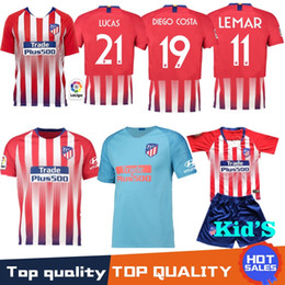 Hot 18 Atletico Soccer Jersey 7 GRIEZMANN 10 Correa 21 Lucas 19 Costa Koke  Godin Luis Gimenez 2019 Kids Kits Women Men football shirt c4e88e36a