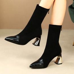 meias de couro Desconto MLJUESE 2020 mulheres Mid-calf botas de couro de vaca zíperes apontou toe inverno curto pelúcia salto alto mulheres meias botas tamanho 42