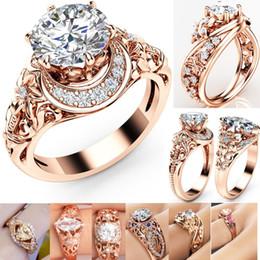 Роскошные розовое золото Кристалл Циркон драгоценный камень кольцо золото  обручальное свадьба влюбленных пара кольцо, 6 стилей Бесплатная доставка  дешево ... 5cfb02893bc