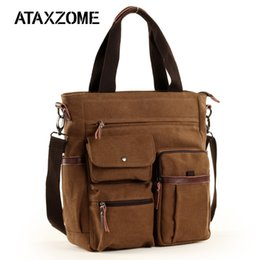 e2ebf8e50949 ATAXZOME 2019 Men s Shoulder Bag Waterproof Canvas Briefcase for Men Laptop  Work Business Trip Bag For handle B502