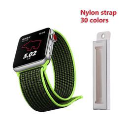Пряжки ремня безопасности iwatch онлайн-38мм 42мм 40мм 44мм ремешок для яблочных часов серии 1 2 3 тканый нейлоновый ремешок для ремешка iWatch 4 с красочным узором классическая пряжка