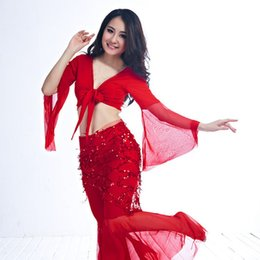22f1a46d012d65 Eastern Women Bra Bellydance Costume Fringed Sequins Costume Chain On Pants  Fan Veils For Dancing Tribal Skirt Belly Dancing C