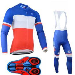 Fdj ciclismo manga larga online-Nuevo 2019 FDJ hombres invierno ciclo Jersey establece la manga larga de polar cálido ropa de la bici de la bicicleta MTB maillot Ropa Ciclismo A15134