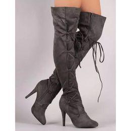 bottes en latex Promotion Vente chaude de mode bottes longues pour les femmes en cuir nubuck sexy Stovepipe bottes longues sur le genou talons hauts femmes taille 34-43