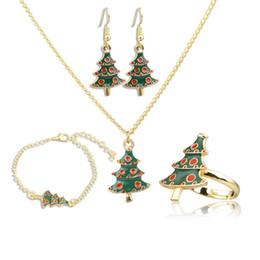 collar anillo para niña Rebajas Árbol de Navidad Collares pendientes Pulseras con dijes Pendientes Anillos Set Conjuntos de joyería de declaración de Navidad Regalos para mujeres Niñas DHL