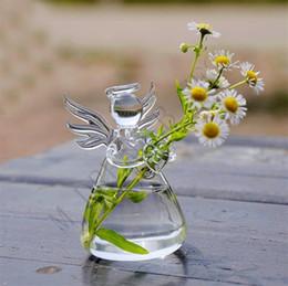Regalos divertidos para el hogar online-Claro Ángel colgante de cristal de la botella florero divertido terrario hidropónico Recipiente Tiesto jardín de DIY Decoración 5 cm * 9 cm para el regalo del día de la madre