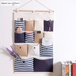 jewelry hanging storage organizer bag Promo Codes - Hanging Storage Pocket Wardrobe Organizer Bag Multi-layer Holder Wall Hanging Storage Bags Makeup Rack Linen Jewelry Bags Dolap