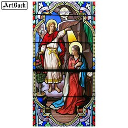 pinturas de delfines Rebajas 25 5d estilo del diamante bricolaje pintura del ángel 3d religiosa plena cristal cristiano cuadrado bordado diamante mosaico manchado arte religioso