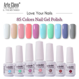 Uñas de gel de color nude online-Arte Clavo 85 colores de uñas del gel LED UV Gel para el clavo empapa de Uñas Laca brillo 8ML desnuda híbrido rojo polaco