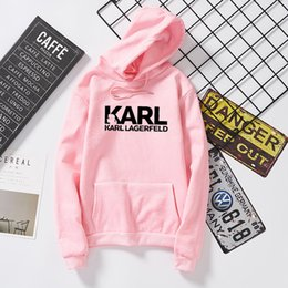 Tracce di marca donne online-Karl Shirt Lagerfeld Felpe Vogue Donna Felpa con marchio Profumo Designer Pullover Tumblr Jumper Lady Casual Tuta