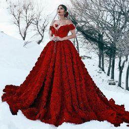 Einzigartige rote kleider online-Wunderschöne Dark Red 3D Blumen Plissee Ballkleid Brautkleider für Party Custom Made Brautkleider Einzigartige Party Maxi Kleider