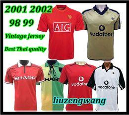 Rétro version 2001 2002 United Centenary 100 Jersey Maillot de foot v. NISTELROOY football Giggs SCHOLES BEKHAM RONALDO 98 99 Manchester 2008 ? partir de fabricateur