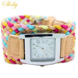 Argentina Shsby Bohemia multicolor tejiendo reloj femenino reloj de cuarzo vestido de las mujeres señoras regalo de moda pulsera al por mayor cheap quartz colored watches wholesale Suministro